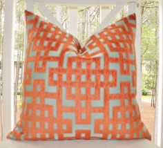 Decorative Throw Pillow - Orange Aqua Turquoise Geometric Greek Key Trellis Designer Cover - Throw Pillow
