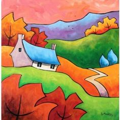 September Dawn Puzzle created by Clarkmega Image copyright: Gillian Mowbray Landscape Quilts, Landscape Paintings, Acrylic Paintings, Landscapes, Art Fantaisiste, Art Populaire, Naive Art, Silk Painting, Whimsical Art