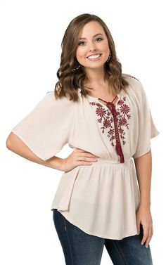 Double Zero Women's Natural with Wine Embroidery Short Sleeve Top   Cavender's
