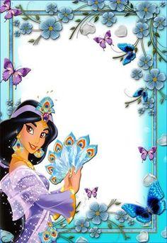 Marco para Fotos Infantiles Disney Disney Jasmine, Frames Png, Scrapbook Da Disney, Aladdin Party, Disney Frames, Photo Frame Design, Family Photo Frames, Birthday Frames, Princess Pictures