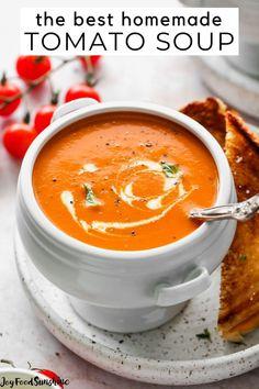 Homemade Tomato Basil Soup, Easy Tomato Soup Recipe, Best Tomato Soup, Vegan Tomato Soup, Roasted Tomato Basil Soup, Fresh Tomato Recipes, Easy Soup Recipes, Homemade Soup, Cooking Recipes