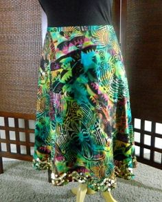 WDNY Free & Comfortable Hippie People Colorful Skirt Fun Linen Blend 14 XL SK123 #WDNY #ALine