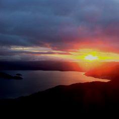 Sun rise. Toya Lake,Hokkaido,JPN-from the Windsor Hotel Toya