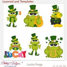 Lucky Irish Frogs Layered Element Templates , cudigitals.com, cu, commercial, scrap, scrapbook, digital, graphics, clipart,