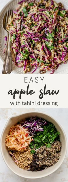 This easy apple slaw features red cabbage, spinach, quinoa and a creamy tahini dressing. It's such a healthy and unique twist on traditional coleslaw.
