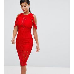 NaaNaa Petite Lace Bodycon Midi Dress With Off Shoulder And Cut Out... (77 CAD) ❤ liked on Polyvore featuring dresses, red, petite cocktail dress, red bodycon dress, off the shoulder bodycon dress, red cocktail dress and floral midi dress