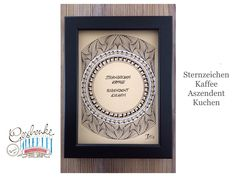 Tunella's Geschenkeallerlei präsentiert: Faser- und Gelstift auf Papier - Doodelei - Sternzeichen Kaffee, Aszendent Kuchen #TunellasGeschenkeallerlei #Doodelei #Faserstift #Gelstift #handgemacht #Geschenk #Weisheit #Sprüche Doodle, Etsy Seller, Unique Jewelry, Creative, Handmade Gifts, Frame, Vintage, Paper, Goodies