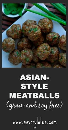 Asian-Style Meatballs with Cilantro and Green Onion (grain and soy free) | savorylotus.com