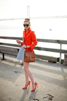 Poppy red and stripes. The heels are a perfect touch!