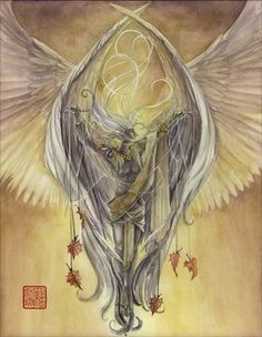 Archangel Azrael - Comes to the dying to ease transition. Remains with loved ones to support, comfort and ease grief. Call on Azrael to help with loved one's crossing and ease the pain and darkness of sorrow. Archangel Azrael, Christian Symbols, Guardian Angels, Mythological Creatures, Angel Of Death, Angels And Demons, Angel Art, Fantasy Inspiration, Beautiful Creatures
