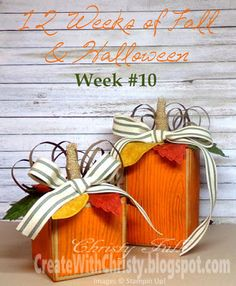 Stampin' Up! Gift Box Punch Board Pumpkins and Vintage Leaves - Free Illustrated, Step-by-Step Tutorial Included in the Post - Create With Christy: 12 Weeks of Fall & Halloween - Week 10 - Christy Fulk, Stampin' Up! Demo