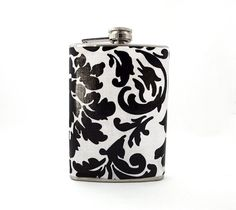 Black and White Floral Flask, Bridal Party Gift, Flask for Women, 8oz Stainless Steel Hip Flask