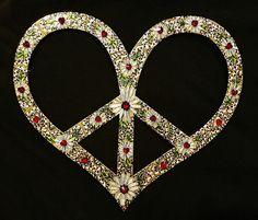 Boho Peace Sign - Peace Heart with Swarovski Red Heart & Black Crystals