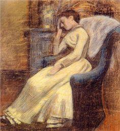 Julie Lemmen Sleeping in an Armchair - Georges Lemmen, Belgian artist (1865 – 1916), neo-impressionist