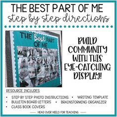 The Best Part of Me Bulletin Board Step By Step Photo Directions - Interactive Bulletin Boards, Bulletin Board Letters, Bulletin Board Display, Ela Classroom, Classroom Community, Future Classroom, Classroom Ideas, Writing Activities, Diversity Activities