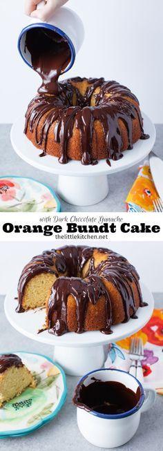 (so wonderful!) Orange Bundt Cake with Dark Chocolate Ganache from thelittlekitchen.net