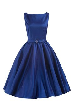 Blue Satin Audrey Swing Dress