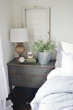 Unbelievable Neutral master bedroom – Nightstand makeover with magnolia home paint in one horn white. A must pin for farmhouse style & cottage style decor!  The post  Neutral master bedroom – Ni ..