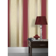 Synergy Striped Wallpaper Rich Red, Cream, Gold (M0803)