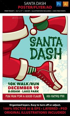 SANTA DASH CHRISTMAS WALK / FUN RUN Event Poster, Flyer or ad. Advertise your Christmas Santa Dash walk / run with this fun, colorful flyer! File comes with all the elements you need to create accompanying print pieces such as postcards, ads, invitations, brochures, announcements, banners, and web graphics.