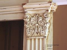 love this distressed paint finish on a beautiful column molding