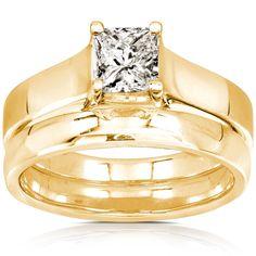 Annello by Kobelli 14k Gold 5/8ct Princess Diamond Bridal Set (GH, I1-I2) (Yellow - Size 5.5), Women's, White G-H
