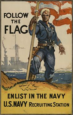 """Follow the Flag - Enlist In The Navy, James Henry Daugherty.  World War 1 original poster """"Follow the Flag"""". Enlist in the Navy. U.S. Navy Recruting Station. The image is of a Sailor holding U.S. flag on shore and a battleship at sea behind him. He is holding the U. S. Flag. This bold, patriotic Recruiting Poster was printed by Carey Print Lith. in New York, and is """"signed"""" by the artist """"J. Daugherty."""