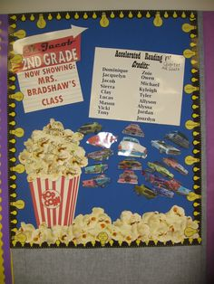 Gradually added new parts to this Accelerated Reader board..1st Q-screen 2nd Q- popcorn 3rd Q- cars, 4th Q-lightbulbs