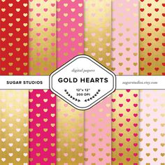 Valentine's Gold Hearts Digital Backgrounds  12 by sugarstudios