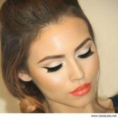 Amazing orange lips and black line with nude eye makeup - LikeaLady.net