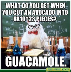 What do you get when you cut an avocado into 6X10^23 pieces? - - High School Memes