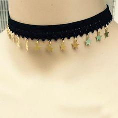 Pentagram Pendant Lace Choker Necklace