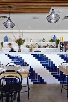 Tropico Cafe counter feature tile - blue and white chevron subway tiles and masia white wall tiles | Myaree Ceramics
