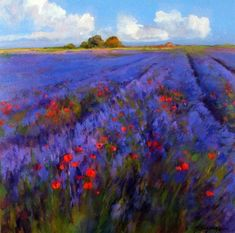 Lavender fields oil painting by Maria Serafina Landscape Art, Landscape Paintings, Landscapes, Art Painting Tools, Pintura Exterior, Acrylic Painting Canvas, Acrylic Art, Wow Art, Arte Floral