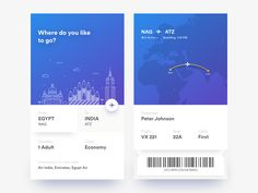 A plane e-ticket concept with a simple and minimal design ready to use. Good job by Ranjith Alingal. Web Design, App Ui Design, Interface Design, User Interface, Fly App, Card Ui, Identity, Ticket Design, Instagram Post Template