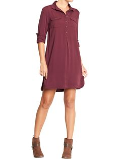 Old Navy Drapey Shirt Dresses in Red (Go Pinot Go)
