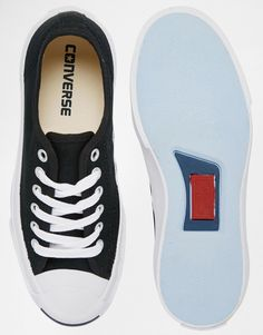 Image 3 ofConverse Jack Purcell Black Canvas Trainers