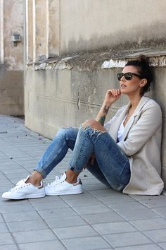 Pinned for the Stan Smith sneakers but the outfit is cute too