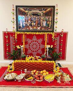 Thali Decoration Ideas, Diwali Decorations, Festival Decorations, Flower Decorations, Indian Decoration, Tulasi Plant, Housewarming Decorations, Ganapati Decoration, Pooja Room Door Design