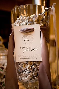 This is so sweet for a large event   Just put the scoop in, have cute bags and let your guests fill on there way out