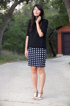 jcrew sweater + polka dot skirt