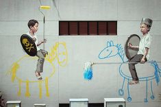 Jousting Painters on the Streets of Singapore by Ernest Zacharevic street art