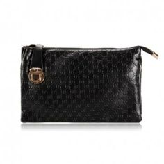 New Arrival Solid Color and Embossing Design Clutch For Women, BLACK in Clutch Bags