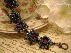 Etna - elegant bracelet beaded with glass beads and red glass rivolis, handmade women's jewellery.