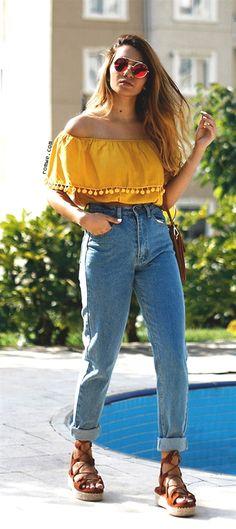 d59151051a9 Shop Yellow Pom Pom Trim Ruffle Off The Shoulder Top online. ROMWE offers  Yellow Pom Pom Trim Ruffle Off The Shoulder Top   more to fit your  fashionable ...