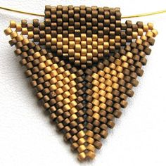 Golden Peyote Triangle Pendant 2384 A Sand Fibers by SandFibers