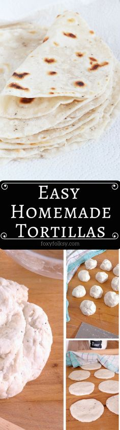 Homemade Flour Tortillas are so simple and easy to make and really handy to have at home to use in various other recipes like tacos, fajitas, burritos and other wraps. | www.foxyfolksy.com