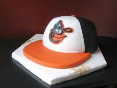 Groom's Cake! - Go O's - Baltimore Orioles baseball hat cake. By Sarah. EatItCakes.blogspot.com