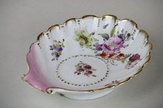 Dresden Shell Form Small Dish Trinket Holder Pink Gold Floral Scalloped Rim