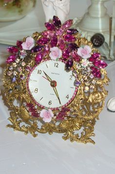 Pink Bejeweled Matson Alarm Clock 24 By Debbie-Weiss, Juliana,brush, comb, vintage, Clock,tray, mirror, perfume, antique, vintage, victorian, Sparkle,